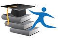 Graduation logo illustration of with cap and books Royalty Free Stock Image