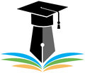 Graduation logo illustration of with cap and books Stock Photography