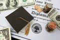 Graduation money college or high school diploma with mini mortar board and Stock Image