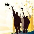 Graduation mortar diploma blue ribbon Stock Photo