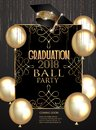 Graduation party elegant banner with golden design elements and air balloons.