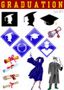 Graduation related illustrations Royalty Free Stock Photo