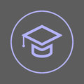 Graduation, Square academic cap circular line icon. Round colorful sign. Education flat style vector symbol.