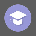 Graduation, Square academic cap flat icon. Round colorful button, Education circular vector sign with shadow effect.