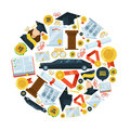 Graduation vector icon set in circle shape. Students party