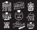 Graduation wishes overlays, lettering labels design set. Monochrome graduate class of 2016 badges. Emblem with sunburst