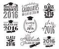 Graduation wishes overlays lettering labels design set monochrome graduate class of badges emblem with sunburst retro hand drawn Royalty Free Stock Images
