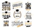Graduation wishes overlays, lettering labels design set. Retro graduate class of 2016 badges. Hand drawn emblem