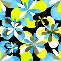 Graffiti abstract flowers on a black background seamless pattern vector illustration Royalty Free Stock Photo