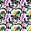 Graffiti abstract flowers on a white background seamless pattern vector illustration Royalty Free Stock Photo