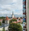 Graffiti and adverts above the old town of Tallinn