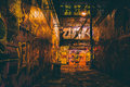 Graffiti Alley at night, in Baltimore, Maryland. Royalty Free Stock Photo