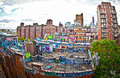 Graffiti on apartment buildings in new york Stock Image