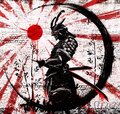 Graffiti on a brick wall of a Japanese warrior in an ink Royalty Free Stock Photo