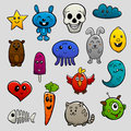 Graffiti characters flat icon set cartoon abstract animals and fruits bright color isolated vector illustration Royalty Free Stock Image