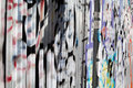 Graffiti colourful on a corrugated metal wall Stock Photos