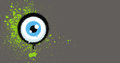 Graffiti eyeball with green paint grunge on gray