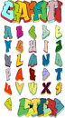 Graffiti letters. Graffiti alphabet. Street art. Graffiti font. Graffiti vector.