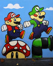 Graffiti of Mario and Luigi from the Nintendo Game Royalty Free Stock Photo
