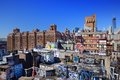 Graffiti in new york city gritty rooftops the lower east side of manhattan Stock Image