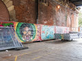 Graffiti panels displayed under South Bank bridge, London Royalty Free Stock Photo
