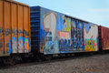 Graffiti on railroad cars Royalty Free Stock Photo