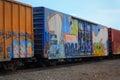 Graffiti on railroad cars Royalty Free Stock Photo