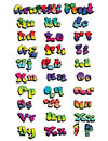 Graffiti rainbow font fun colored hand drawn not traced expert construction easy to modify design and change colors Stock Images