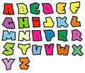 Graffiti readable fonts alphabet over white in multiple color Royalty Free Stock Photo