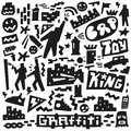 Graffiti spray paint doodles icons in graphic style Royalty Free Stock Photo