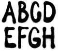 Graffiti spray paint font type (part 1) alphabet Royalty Free Stock Photo