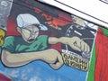 Graffiti street art in abandoned building in bucharest romania Royalty Free Stock Photo