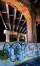 Graffiti under a bridge in point of rocks md maryland Stock Photos