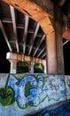 Graffiti under a bridge in point of rocks md maryland Stock Photos