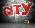 Graffiti wall with city, street background Royalty Free Stock Photo