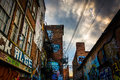 Graffiti on the walls of brick building in Graffiti Alley, Baltimore, Maryland.