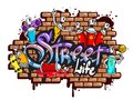 Graffiti word characters composition decorative urban world youth street life art spraycan and drippy blotchy letters vector Royalty Free Stock Images