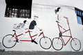 Graffitti with bicycles Royalty Free Stock Photo