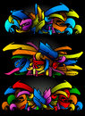 Graffitti sketch set in vibrant colors Royalty Free Stock Photo