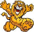 Graficzny szczęśliwy wizerunku lwa maskotki bieg Obraz Royalty Free