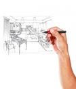 Grafiskt skissa vid pennan av ett inre vardagsrum Royaltyfria Foton