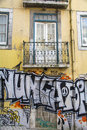 Grafitti in lisbon on old apartment building Stock Image