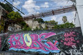 Grafitti in lisbon on wall portugal Stock Photos