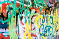 Grafitti multicolored wall in the city Royalty Free Stock Photo