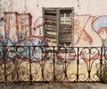 Grafitti wall with balcony Royalty Free Stock Photo
