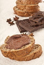 Grain bread with nutella chocolate Royalty Free Stock Image