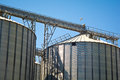Grain silo detail of containers under the blue sky Royalty Free Stock Photography