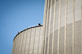 Grain silo detail of containers under the blue sky Royalty Free Stock Image