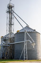 Grain silo on farm in midwest USA Royalty Free Stock Photo