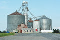 Grain silo industrial agriculture with harvested Stock Photo